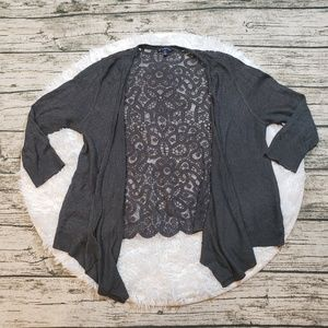 AEO Women's 3/4 Sleeve Lace Back Cardigan